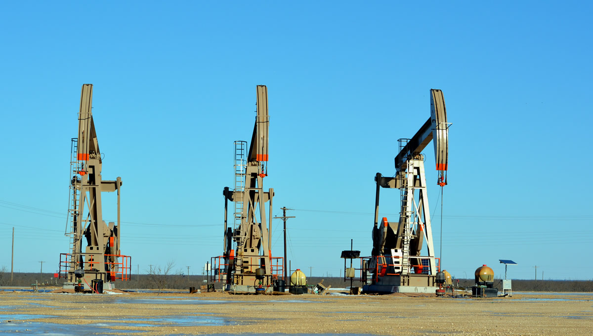 Pump jacks in Reagan County, Texas.