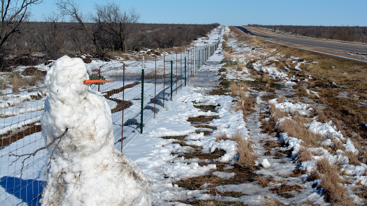 A snow man in West Texas?