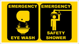 Emergency Shower and Eyewash Trailers clearly marked